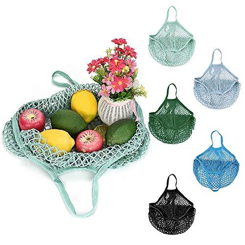 FAVENGO 5 Stück Einkaufsnetz Obst Gemüse Groß Netz Tasche Wiederverwendbare Einkaufstasche Netz Faltbar Netzbeutel mit Kurzer Griff Tragbar Netztasche Baumwolle Einkaufsnetztasche für Einkauf Markt