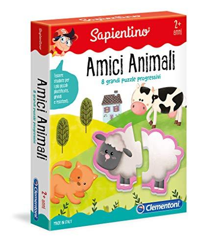 Clementoni - 11965 - Sapientino - Amici Animali - puzzle incastro animali, 8 puzzle bambini - gioco educativo 2 anni tessere illustrate - Made in Italy