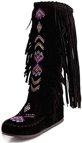 ZHRUI Femme Bottes De Style De De Mode Flock en Cuir Femmes Talons Plat Chaussures Longues Femme Gland Genou Bottes (Couleuré   noir Cloth, Taille   3.5=36 EU)  meilleure vente