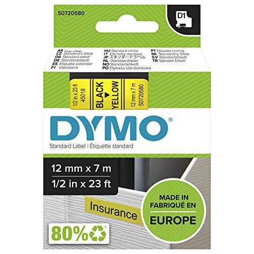 DYMO D1-Etikettenband Authentisch | schwarzer Druck auf gelbem Untergrund | 12mm x 7m | selbstklebendes Schriftband | für LabelManager-Beschriftungsgerät
