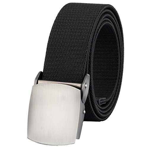 Sportmusies Elastic Belts for Men, Military Style Stretch Webbing Tactical Duty Belt (Black,Auto Metal Buckle)