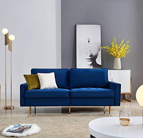 Sofa 2 Sitzer Bettsofa mit Bettkasten inkl. Kissen Couch Sofagarnitur Schlafsofa mit Bezug aus Samt Polstermöbel für kleine Wohnung Gästezimmer Jugendzimmer (Blau)