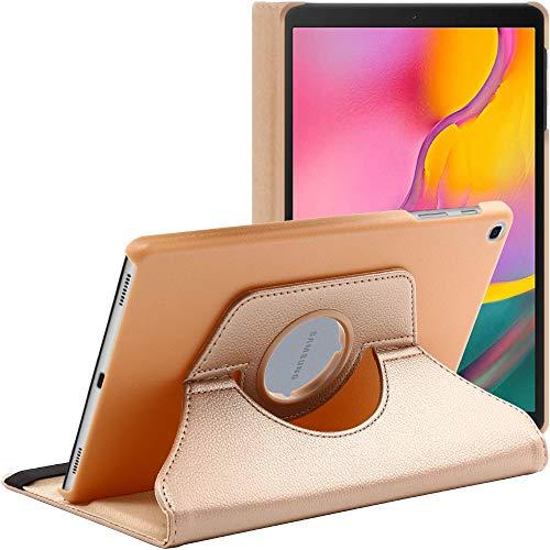 ebestStar - kompatibel mit Samsung Galaxy Tab A 10.1 Hülle 2019 T515 Rotierend Schutzhülle Etui, Schutz Hülle Ständer, Rotating Hülle Cover Stand, Gold [Tab: 245 x 149 x 7.5mm, 10.1'']