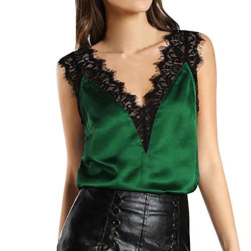 Proumy Chaleco de Mujer con Encaje de Pestañas Pijama Cómoda Camiseta sin Manga Blusa Cuello V Camisa Floral Tansparente Vestido Elegante Tank Top de Talla Grande (Verde, M)
