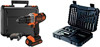 BLACK+DECKER 18 V Multievo Power Drill with Screw Bits, Driver Attachment and Kitbox, 1.5 Ah Lithium Ion, MT218K-GB with B...