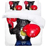 TIZORAX King Bedding Duvet Cover Set - Boxing Glovers Dog 3 Piece Microfiber Comforter Set Quilt Cover and 2 Pillow Shams for Men Women