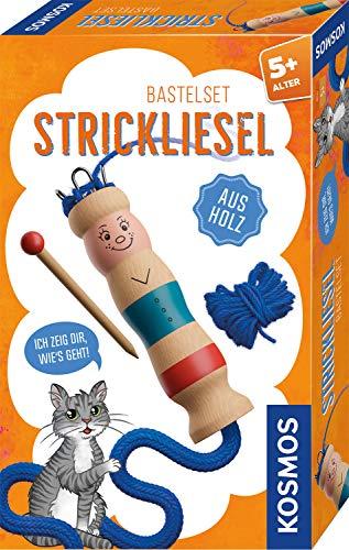 KOSMOS 712600 Strickliesel, aus Holz, Komplett-Set, leichter Einstieg ins Stricken lernen, für Kinder ab 5 Jahre, Bastel-Set mit Strick-Nadel und Wolle, Handarbeiten, DIY