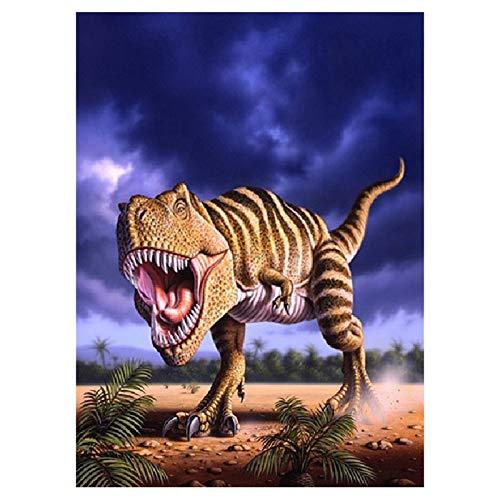 Pintura De Diamante Diy Tyrannosaurus Rex Decoración Del Hogar Cubo De Rubik Diamante 5d Pasta Diamante Pintura 40x50cm Diamante redondo