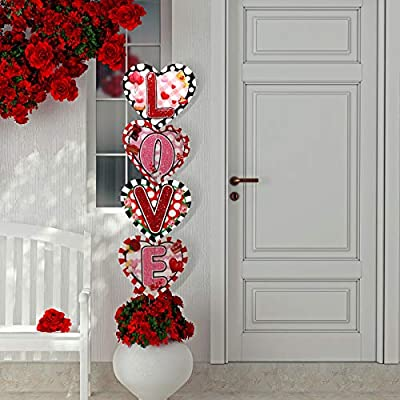 4 Pieces Valentine's Day Yard Signs Outdoor Indoor Yard Signs Decorations with 8 Pieces Lawn Stakes for Valentine's Day Decorations