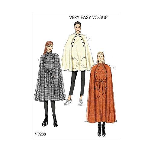 Vogue Patterns 9288ZZ Umhang und Gürtel für Damen, Tissue, Mehrfarbig, 15 x 0.5 x 22 cm