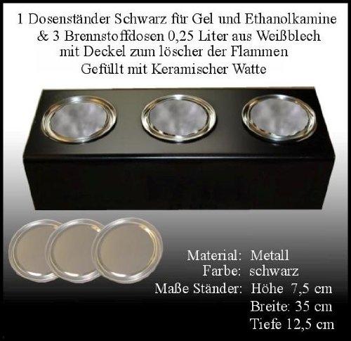 Socle en Métal Noir / 3 Doses de Carburant (0,25 litre, Vide) / Joignant Laine Céramique