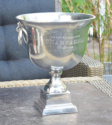 MichaelNoll - Secchiello per champagne, in alluminio, argento, con piedistallo - refrigeratore per spumante, vino e champagne - XXL 37 cm