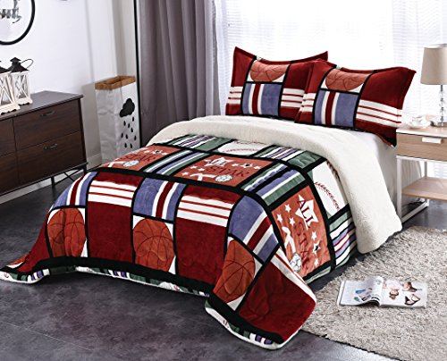 Fancy Collection 3pc Full/Queen Size Blanket Blue Green Orange All Sta Sport Sumptuously Soft Plush with Sherpa Winter Blankets Bedspread Super Soft New # 203