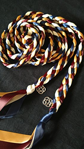 Navy Marsala Gold and Ivory Handfasting Cord Ceremony Braid- Celtic Knot- 6 ft -Wedding- Braided Together- Handfasting cord- Burgundy