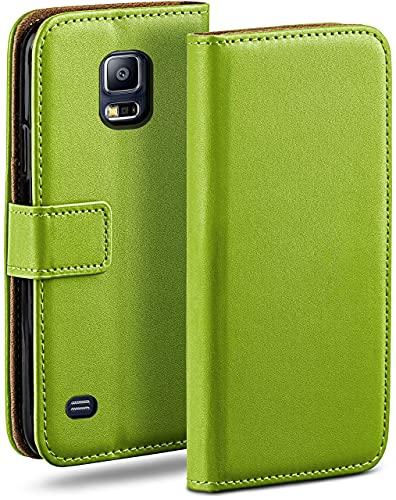 moex Klapphülle kompatibel mit Samsung Galaxy S5 / S5 Neo Hülle klappbar, Handyhülle mit Kartenfach, 360 Grad Flip Hülle, Vegan Leder Handytasche, Grün