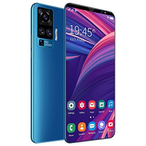 FJYDM Android 10 Smartphone 4G, 5 Pulgadas De Alta Definición + Pantalla, Tres Cámaras Traseras, 6GB + 128GB, Batería De 4800 Mah, Diseño Suave Y Delgado, Teléfono Móvil con Doble SIM,Azul