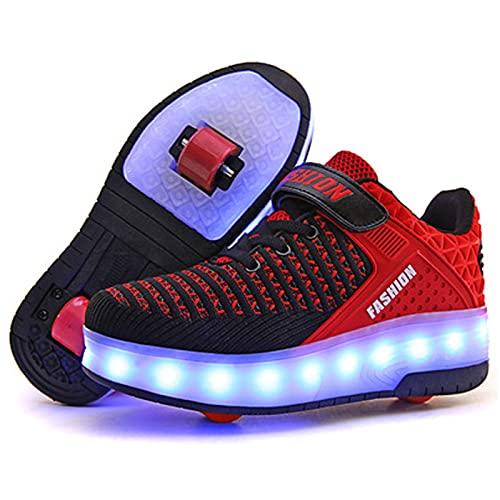 TVVT Zapatos de patinaje con carga USB para adultos, para caminar, deformar, Kick Roller, patines invisibles, polea con polea, color rojo, transpirables y distintos 34