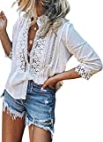 Aleumdr Womens Summer Sexy Lace Crochet V Neck 3/4 Sleeve Button Down Shirts Casual Loose Fit Blouses Tops White Large 12 14