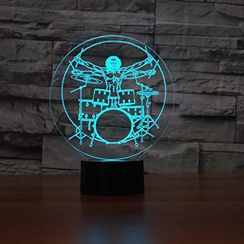 hqhqhq Drum Set 3D Illusion Night Light Rock Instrumentos Musicales LED Night Light Lámpara de Mesa de Escritorio 16 Colores Que cambian Baby Sleeping Lightin con Mando a Distancia -1314
