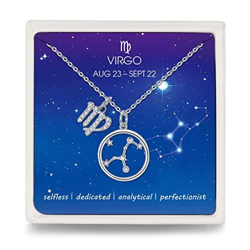 Qings Virgo Zodiaco BFF Collar Zirconia Cúbica Horóscopo Mejor Amigo Collares de Cristal para Mujeres y Niñas