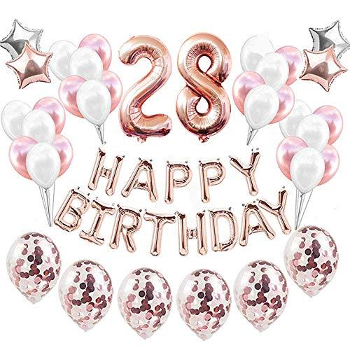 Feelairy 28 año Cumpleaños Globos Decoración Kit Oro Rosa, Happy Birthday Banner Globo Carta, Globos de Papel Aluminio Gigante Número 28 y Estrella Globos, Cumpleaños 28 para Mujer