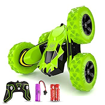 Seckton RC Stunt Car Toys Remote Control Car for 6-12 Year Old Boys RC Cars 360 Degree Flips Double Sided Rotating 4WD 2.4Ghz Outdoor Toys Car for Kids Birthday Gifts Green