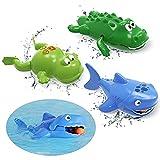 Badewannenspielzeug (3er-Pack), toymus Baby Bade SchwimmenSpielzeug, Hai, Krokodil, Frosch, BPA Free, übt Feinmotorik und Greifkraft Badespielzeug/Planschbeckenspielzeug /Poolspielzeug/Wasserspielzeug