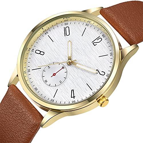 Reloj redondo - Moda Casual Hombres Negocios Reloj de pulsera de cuarzo PU Correa (oro marrón) para hombres