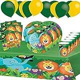 Générique Fête Vaisselle Jungle Animaux Safari Anniversaire Enfants Garçon Fille Décoration Table 1 Nappe 8 Assiettes 8 Gobelets 16 Serviettes 10 Ballons 8 Enfants