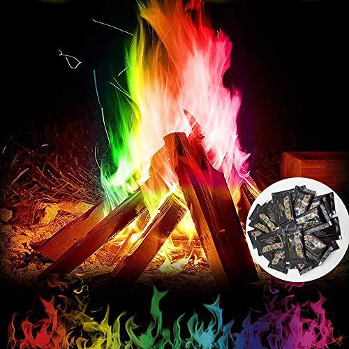 6 stuks gekleurde vlammen, magisch poeder voor kleurrijk vuur, Mystical Fire, Cooler tovertruc met vuurverf, magical Dust voor houtvuur in open haard of vuurschaal