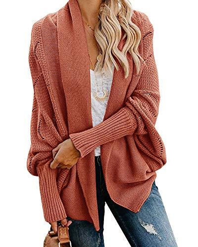 Womens Kimono Open Front Batwing Sleeve Cardigans Oversized Slouchy Shawl Wrap Chunky Crochet Knit Sweater Coats Brick Red