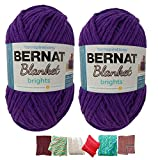Big Ball Blanket Yarn Bundle by Bernat Plus 6 Blanket Yarn Patterns Super Bulky #6 10.5 Ounce Ball 220 Yards (Pow Purple)