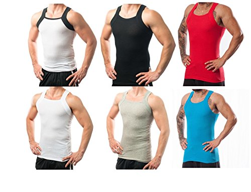 Different Touch Men's G-Unit Style Tank Tops Square Cut Muscle Ribbed Underwear Shirts (3XL, 6 Pack (Assorted))