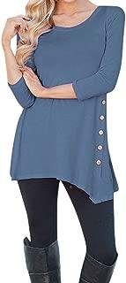Womens Basic Shirt,KIKOY Long Sleeve Loose Button Trim Round Neck Tunic T-Shirt