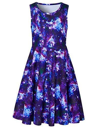 Girls Sleeveless Dress 3D Print Cute Galaxy Nebula Space Pattern Summer Dress Casual Swing Theme Birthday Party Sundress Toddler Kids Twirly Skirt, Galaxy, 8-9 Years Old