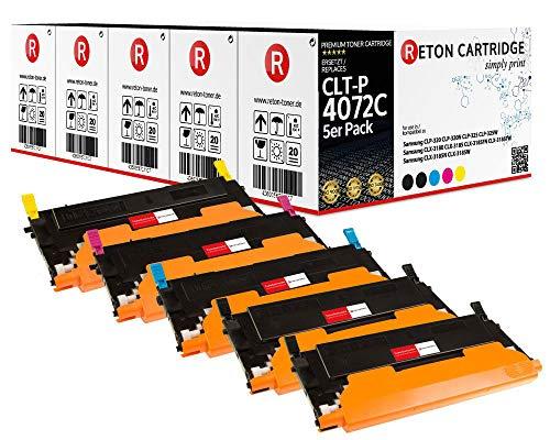 5 Original Reton Toner kompatibel zu Samsung CLT-P4072C für Samsung CLP-320 N CLP-325 W CLX-3180 CLX-3185 CLX-3185FN CLX-3185FW CLX-3185N CLX-3185W