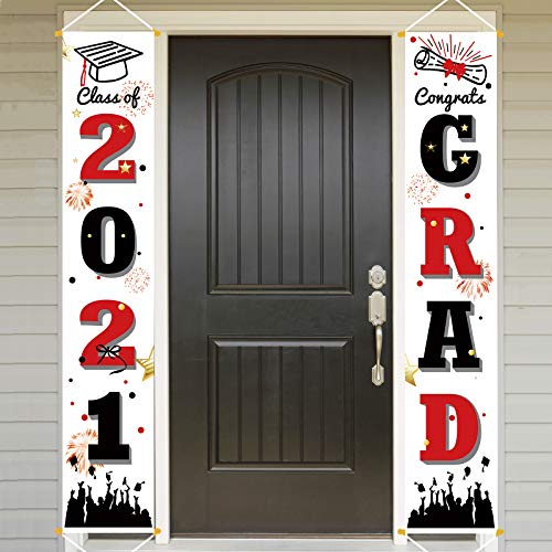 Bunny Chorus Graduation Porch Sign Set, Congrats Grad Class of 2021 Home for Outdoor Indoor, Red Black Hanging Banner Yard Porch Decor Party Decoration Ornament Style 1