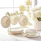 Kaffeetasse Untertasse Keramik Tee-Set Nachmittag, Haushalt Personality Einfache Bone China Teetasse Kaffeetasse (Color : B, Size : 4 Pieces Suit)