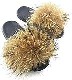 NewYouDirect Fur Slides for Women,Quality Long Fur Womens Slides Fuzzy Sandals Flip Flop Furry Slides Soft Flat for Indoor Outdoor (Natural, 10)