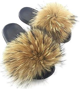 NewYouDirect Fur Slides Women,Fluffy Long Fur Fuzzy Sandals Furry Flip Flop Soft Flat