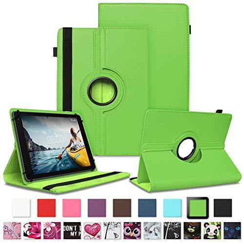 NAUC Tablet Hülle kompatibel für Medion Lifetab E10430 E10604 E10412 E10511 E10513 E10501 Tasche Schutztasche Cover Schutz Hülle 360° Drehbar Etui hochwertiges Kunst-Leder, Farben:Grün