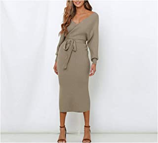 Autumn Winter Knitted Cross Collar Long Sleeve Dress Outerwear Sweater Bat Sleeve Solid Color Bandage Dress