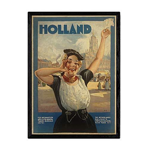 Nacnic Poster Vintage de Viaja a Holanda. Láminas para Decorar Interiores con imágenes Vintage y de Publicidad Antigua. Cuadros decoración Retro. Tamaño A4 con Marco