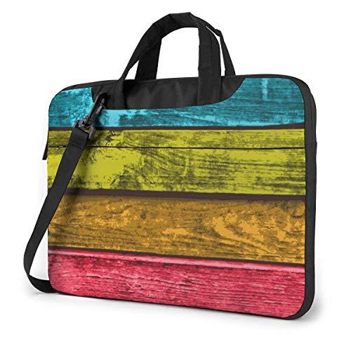 Kleurrijke houten planken Laptop Case Laptop Schoudertas 15.6 inch, Laptop Sleeve Draagtas met riem
