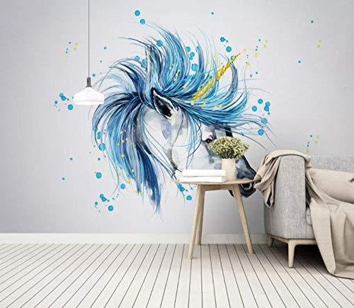 Fotobehang Muurschildering Aquarel Paard Hoofd Paard Eenvoudige Scandinavische Stickers Slaapkamer Woonkamer Tv Achtergrond Home Decoratie 150cm x 105cm