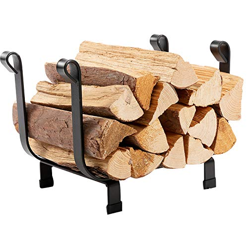 DOEWORKS 17 Inches Small Decorative Indoor/Outdoor Firewood Log Rack Bin with Scrolls, Black