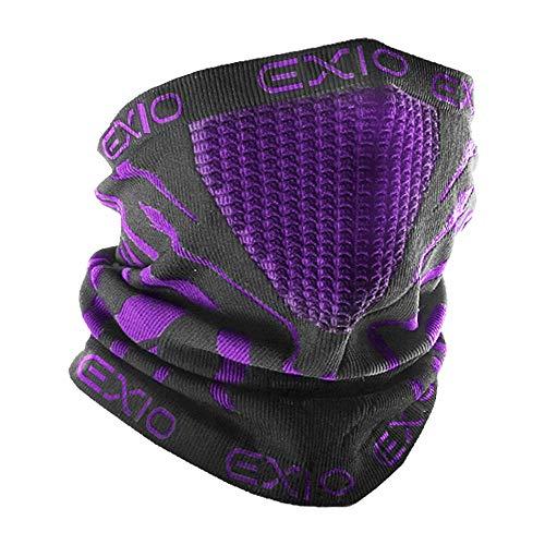 EXIO(エクシオ) 防寒 ネックウォーマー フェイスマスク 男女兼用 フリーサイズ バイク 冬 ブラック(パープル)