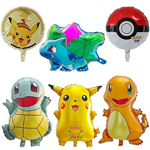JAHEMU Pokemon Globos Aluminio Pikachu Globos Helio Globos para niño Pokemon Cumpleaños Fiesta Decoraciones Suministros 6pcs