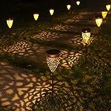 Solarleuchte Garten Metall 4 Stück Solarlampen für Außen Garten, LED Solar Gartenleuchten Warmweiß Gartenlicht Deko IP44 Wasserdichte für Außen Terrasse Rasen Weg [Energieklasse A++]