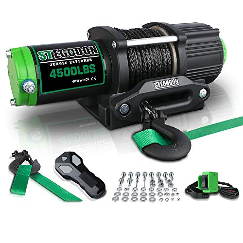 STEGODON New 4500 lb. Load Capacity Electric Winch,12V Black Synthetic Rope Winch with Wireless Handheld Remotes and Wired Handle,Waterproof IP67 Electric Winch with Hawse Fairlead(All-Black)